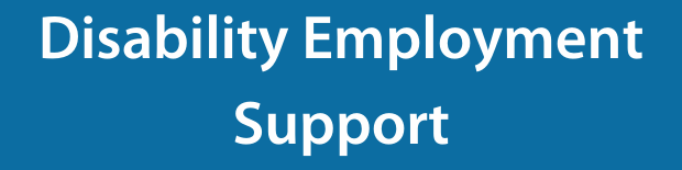 Disability employment support on a blue background