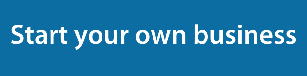 Start your own business on a dark blue background