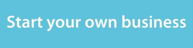 Start your own business on a light blue background