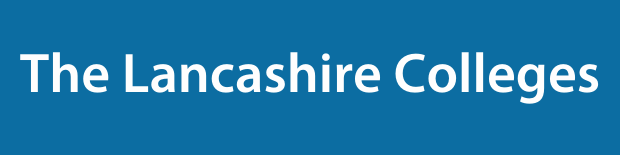 The Lancashire Colleges on a blue background.